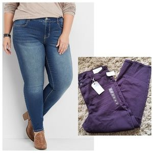 [purple] MAURICES MID RISE 20W SHORT JEGGINGS